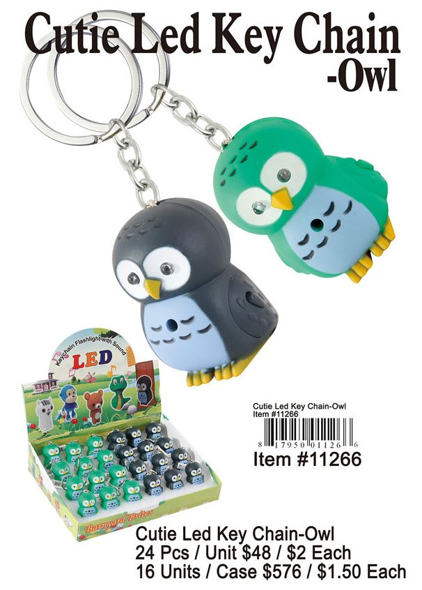 Cutie Led Key Chains-Owl - 24 Pieces Unit