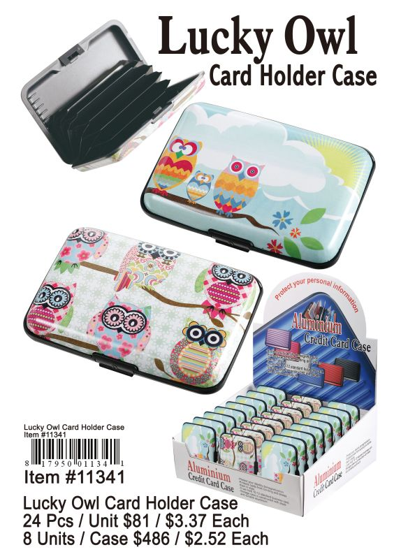 Lacky Owl Card Holder Case - 24 Pieces Unit
