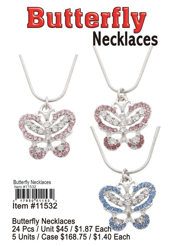 Butterfly Necklaces - 24 Pieces Unit