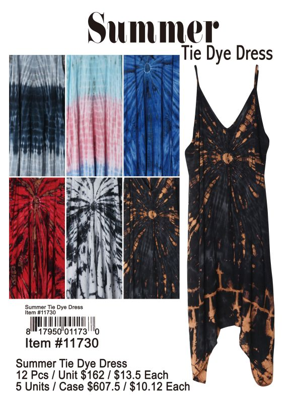 Summer Tie Dye Dress - 12 Pieces Unit