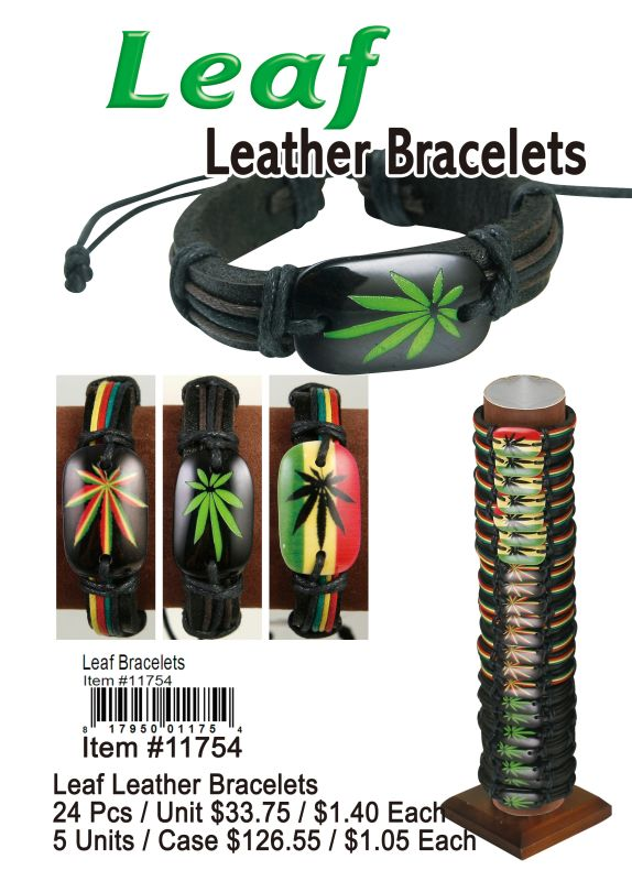 Leaf Leather Bracelets - 24 Pieces Unit
