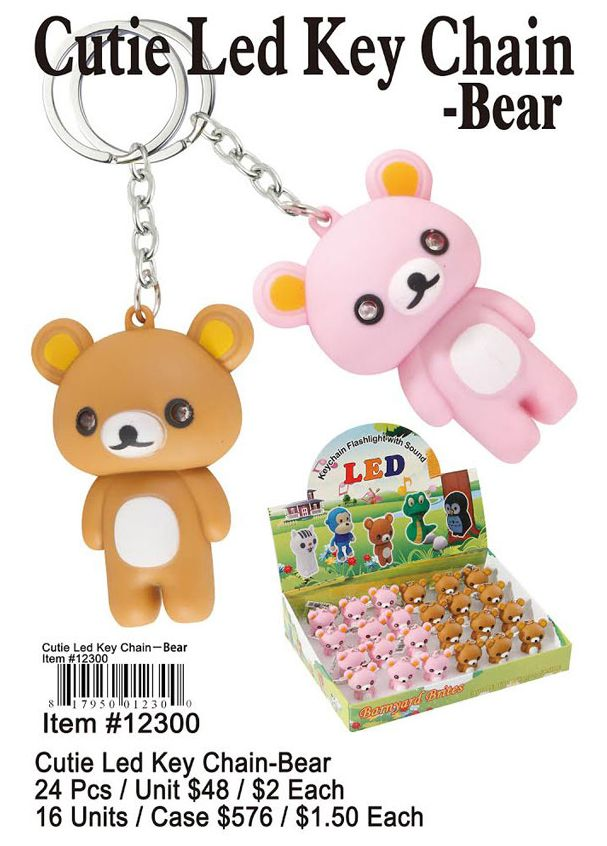 Cutie Led Key Chains-Bear - 24 Pieces Unit