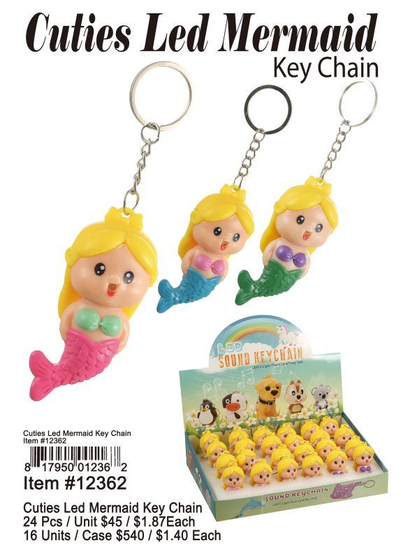 Cutie Led Key Chains-Mermaid - 24 Pieces Unit