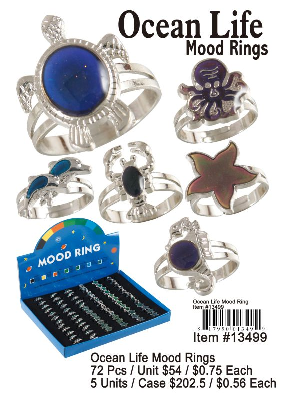 Ocean Life Mood Rings - 72 Pieces Unit