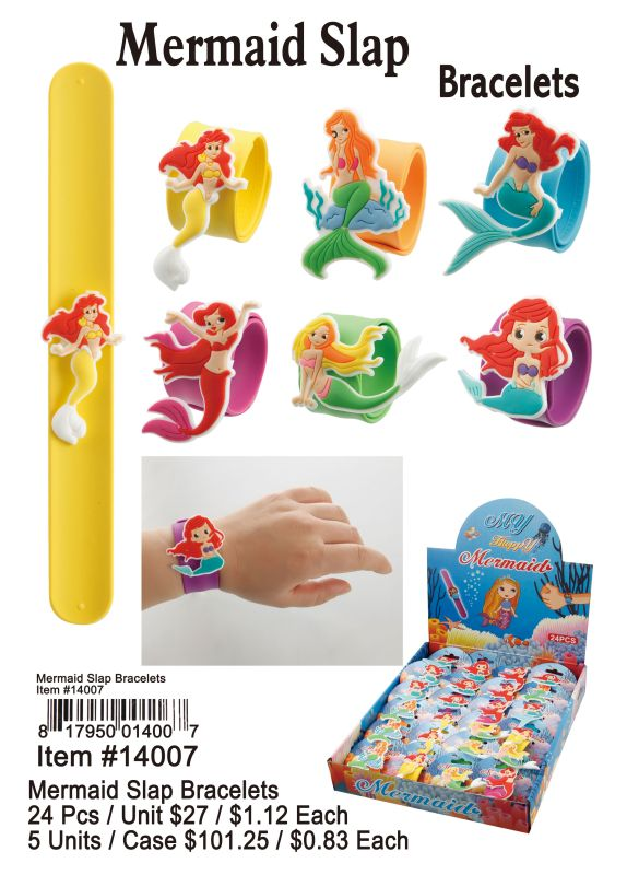 Mermaid Slap Bracelets - 24 Pieces Unit