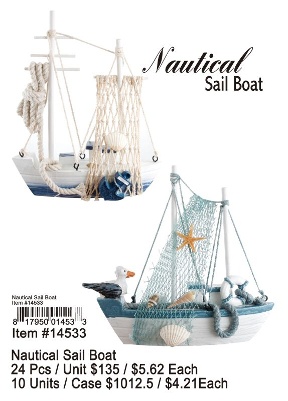 Nautical Sail Boat - 24 Pieces Unit
