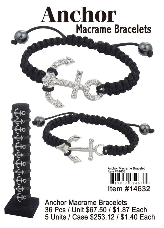 Anchor Macrame Bracelets - 36 Pieces Unit