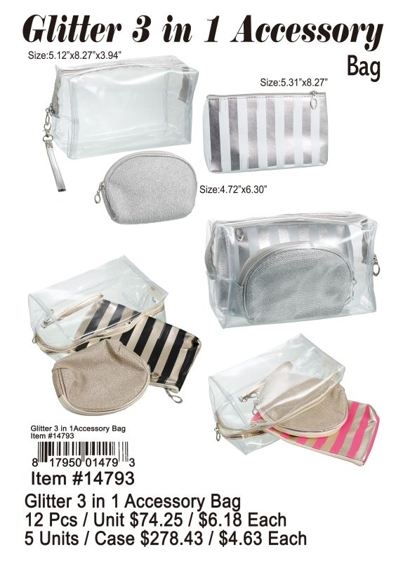 Glitter 3In 1 Accessory Bag - 12 Pieces Unit