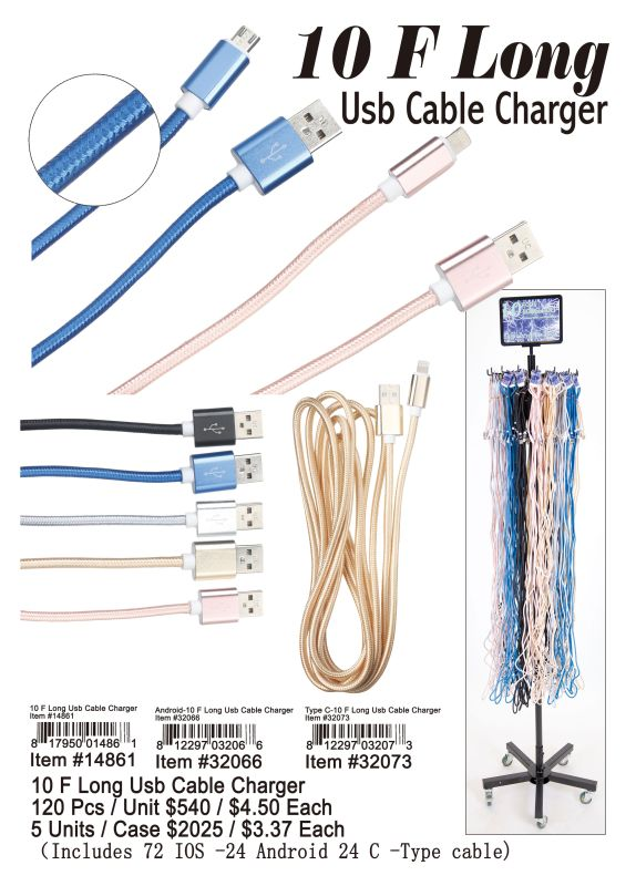 10F Long Usb Cable Charger - 120 Pieces Unit