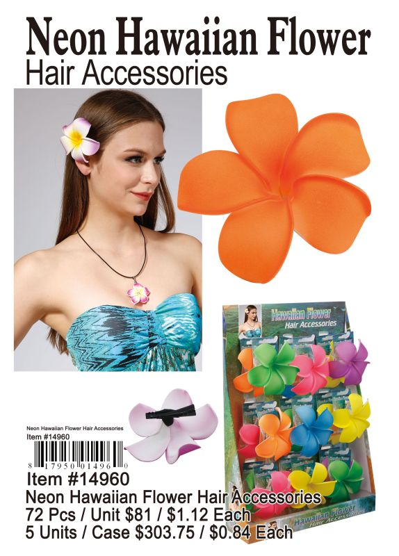 Neon Hawaiian Flower Hair Accessories - 72 Pieces Unit