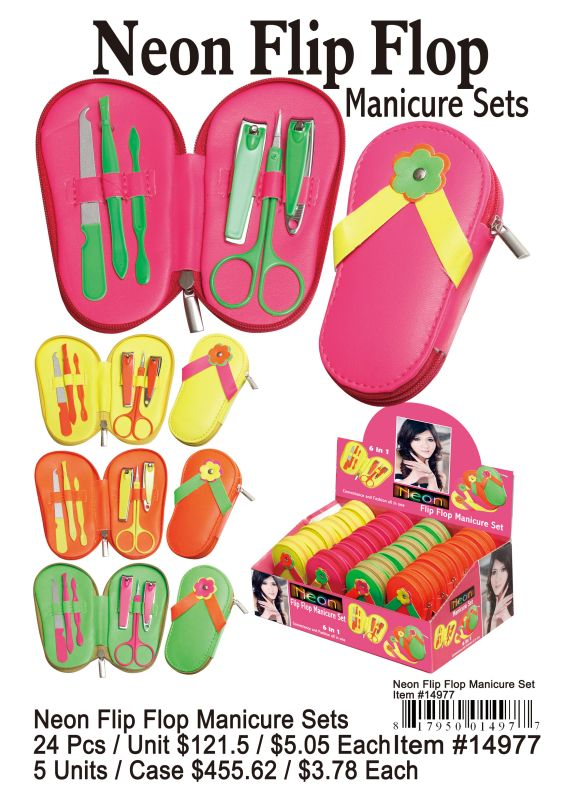 Neon Flip Flop Manicure Sets - 24 Pieces Unit