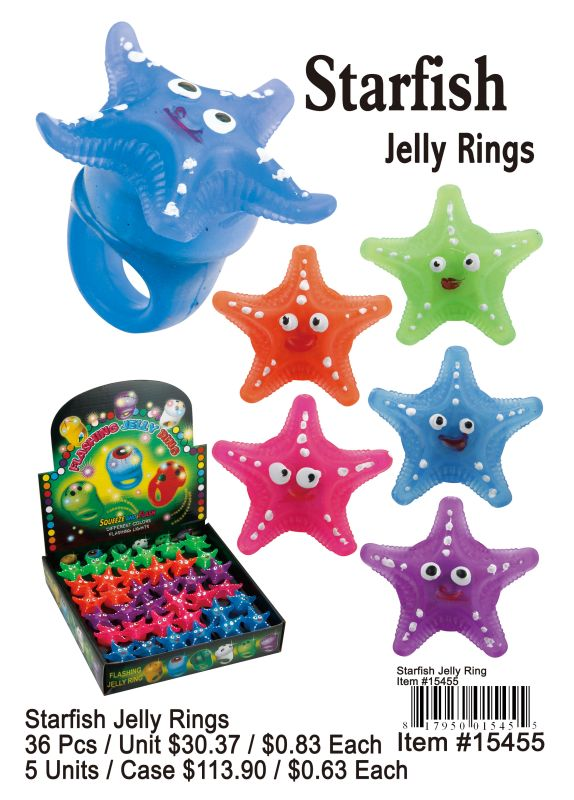 Starfish Jelly Rings - 36 Pieces Unit