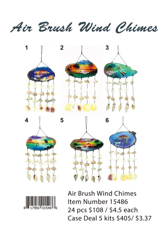 Air Brush Wind Chimes - 24 Pieces Unit
