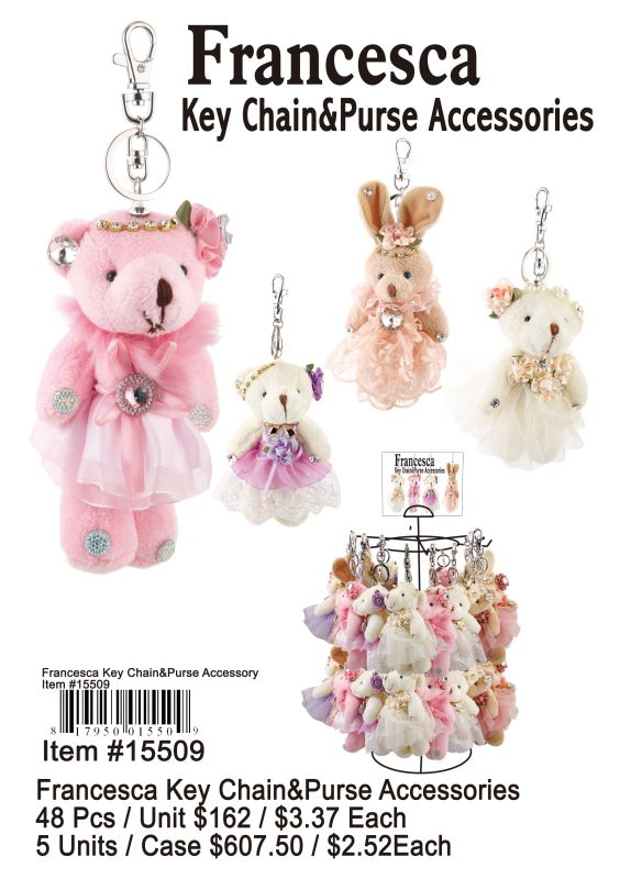 Francesca Key Chain & Purse Accessories - 48 Pieces Unit