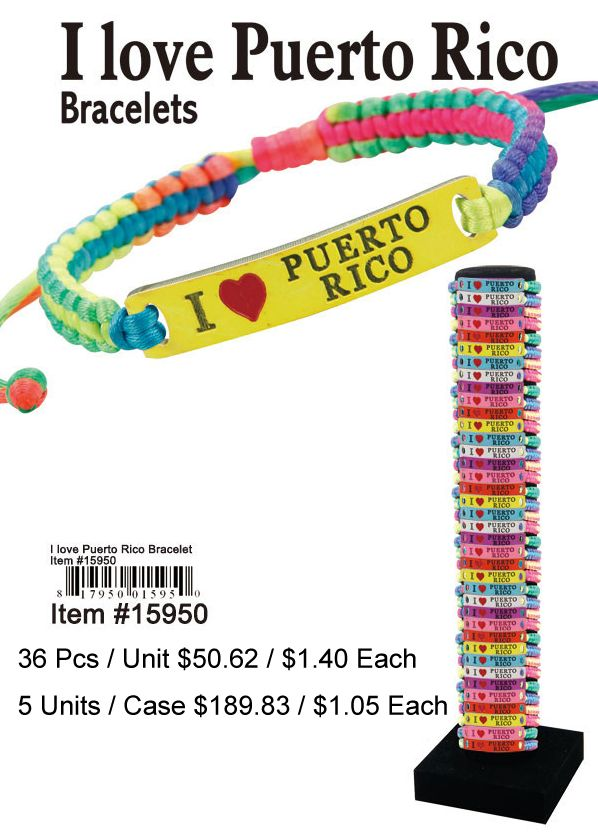 I Love Puerto Rico Bracelets - 36 Pieces Unit