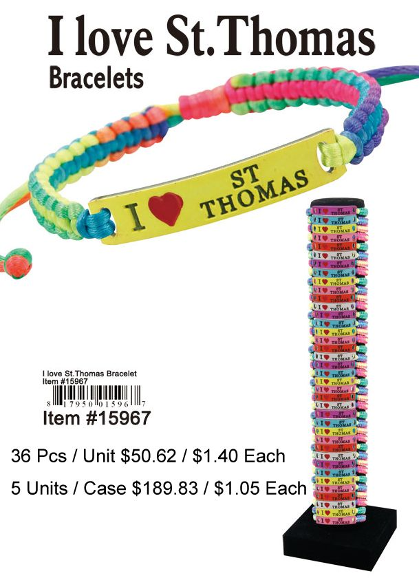 I Love St.Thomas Bracelets - 36 Pieces Unit