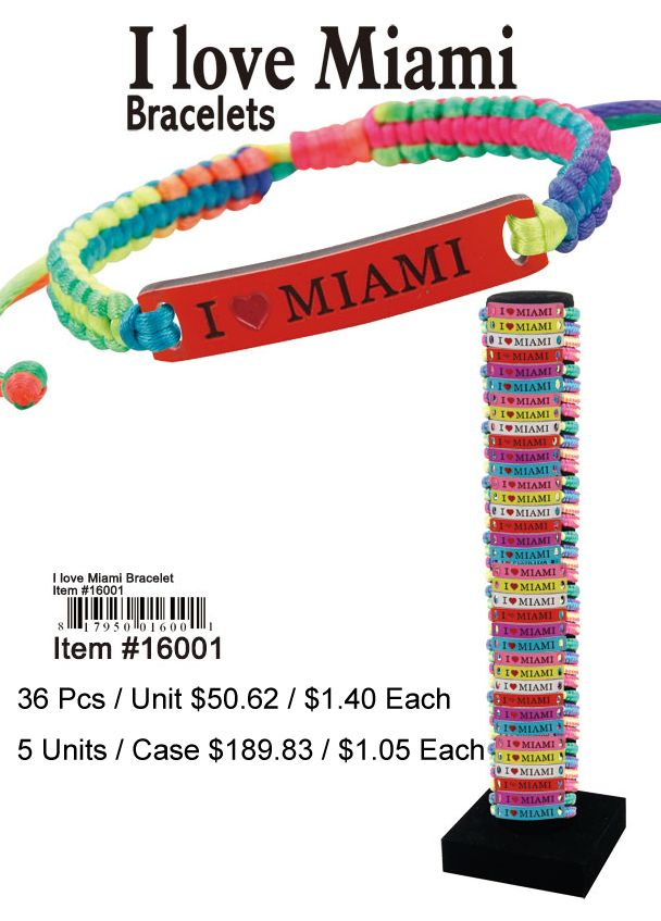 I Love Miami Bracelets - 36 Pieces Unit