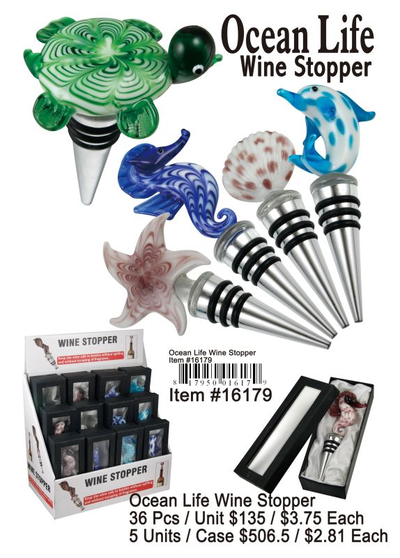 Ocean Life Wine Stopper - 36 Pieces Unit