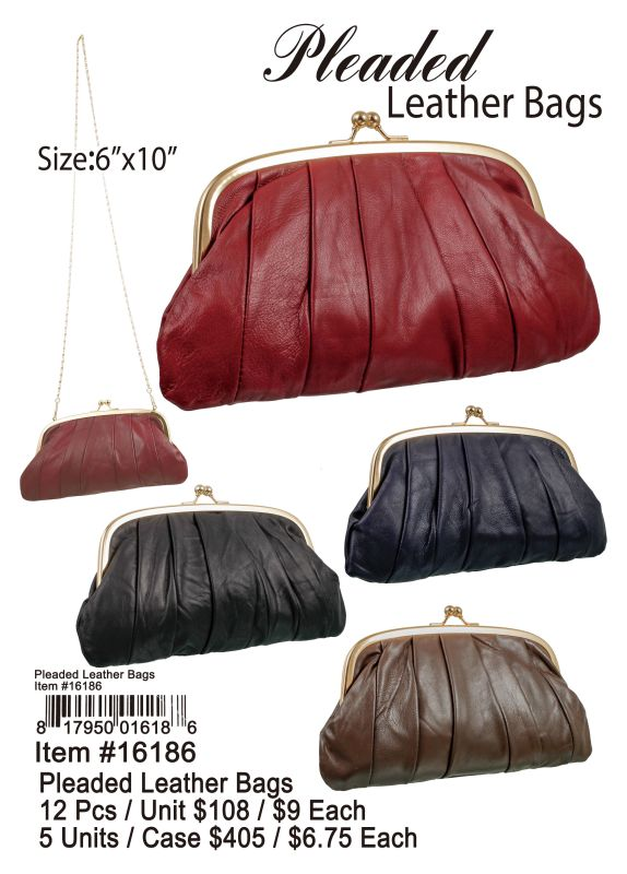 Pleaded Leather Bags - 12 Pieces Unit