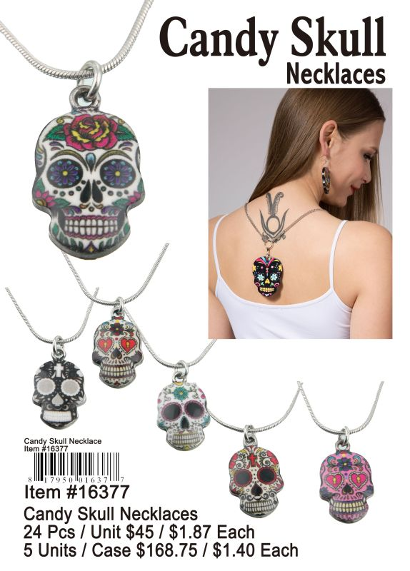 Candy Skull Necklace - 24 Pieces Unit