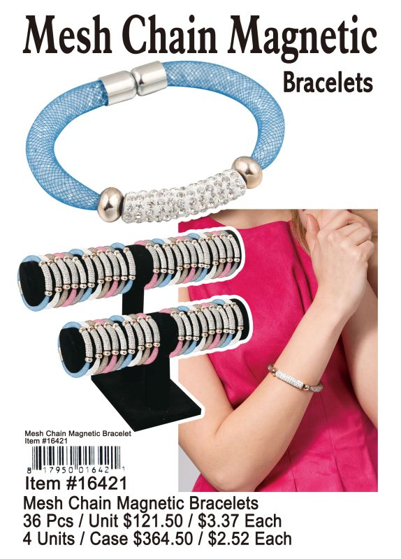 Mesh Chain Magnetic Bracelets - 36 Pieces Unit