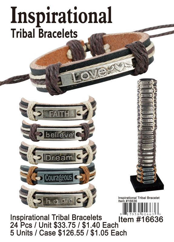 Inspirational Tribal Bracelets - 24 Pieces Unit