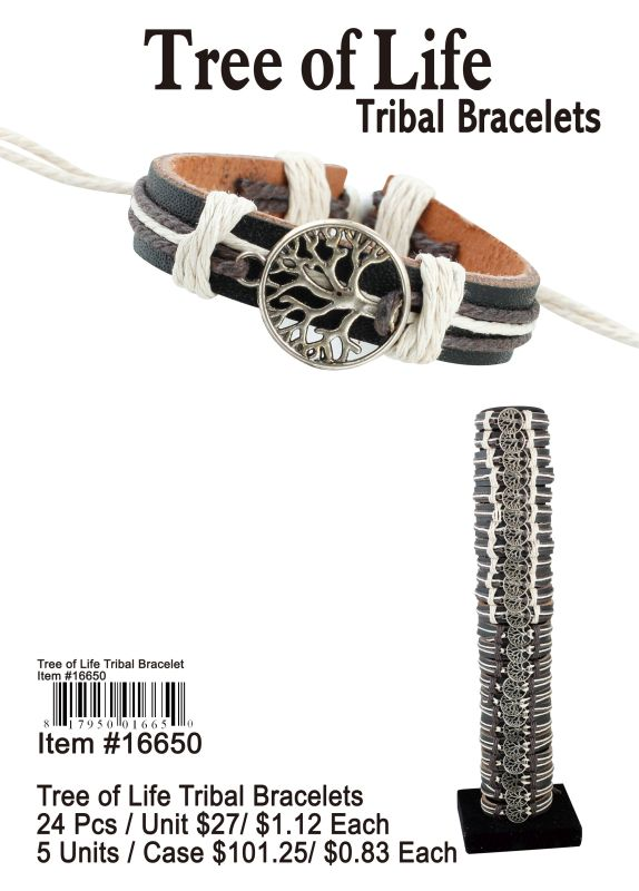 Tree Of Life Tribal Bracelets - 24 Pieces Unit
