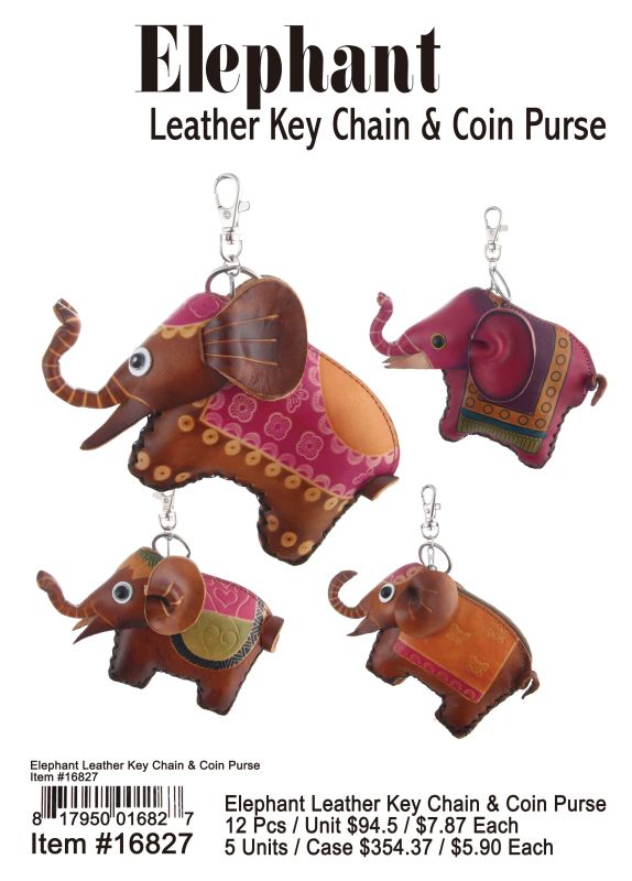 Elephant Leather Key Chain & Coin Purse - 12 Pieces Unit