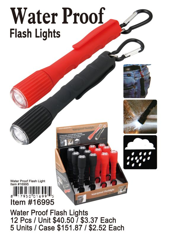 Water Proof Flash Lights - 12 Pieces Unit