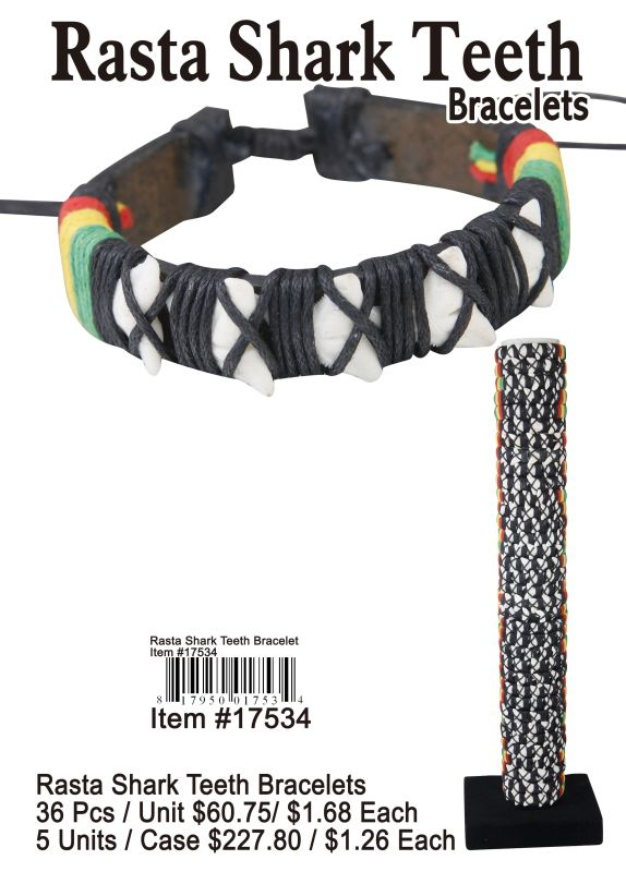Rasta Shark Teeth Bracelets - 36 Pieces Unit