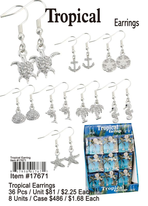Tropical Earrings - 36 Pieces Unit