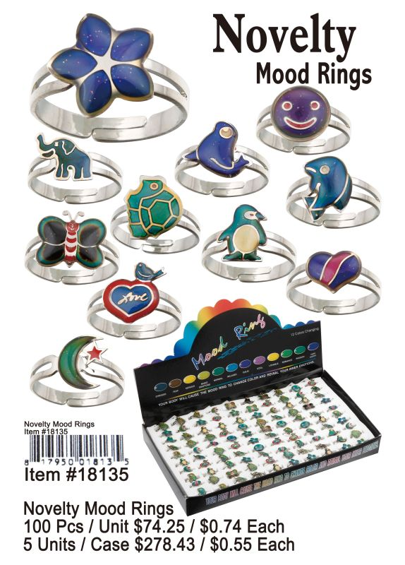Novelty Mood Rings - 100 Pieces Unit