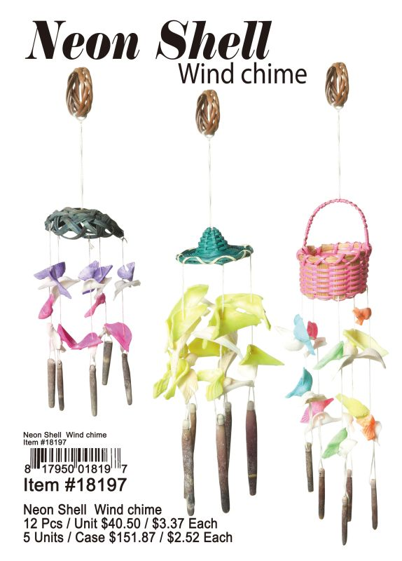 Neon Shell Wind Chime - 12 Pieces Unit