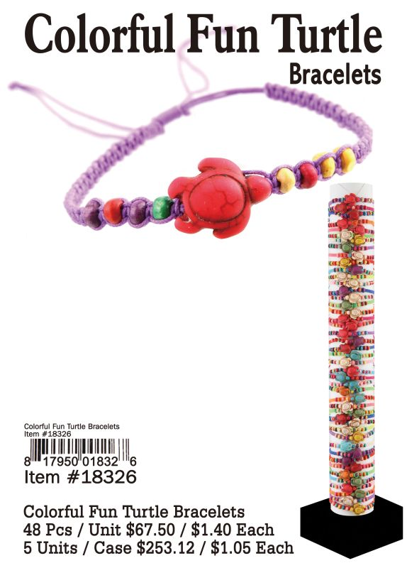 Colorful Fun Turtle Bracelets - 48 Pieces Unit