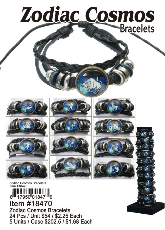 Zodiac Cosmos Bracelets - 24 Pieces Unit