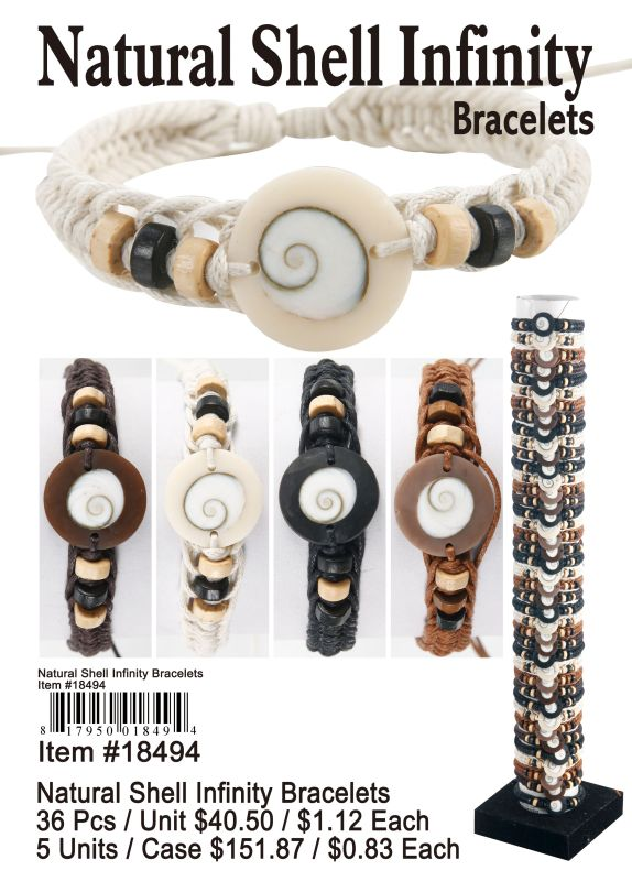 Natural Shell Infinity Bracelets - 24 Pieces Unit