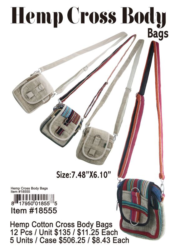 Hemp Cotton Cross Body Bags - 12 Pieces Unit
