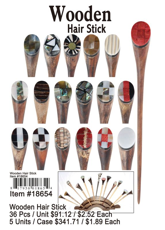 Wooden Hair Stick - 36 Pieces Unit