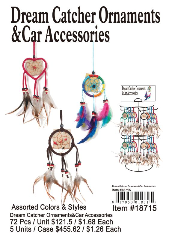 Dream Catcher Ornaments & Car Accessories - 72 Pieces Unit