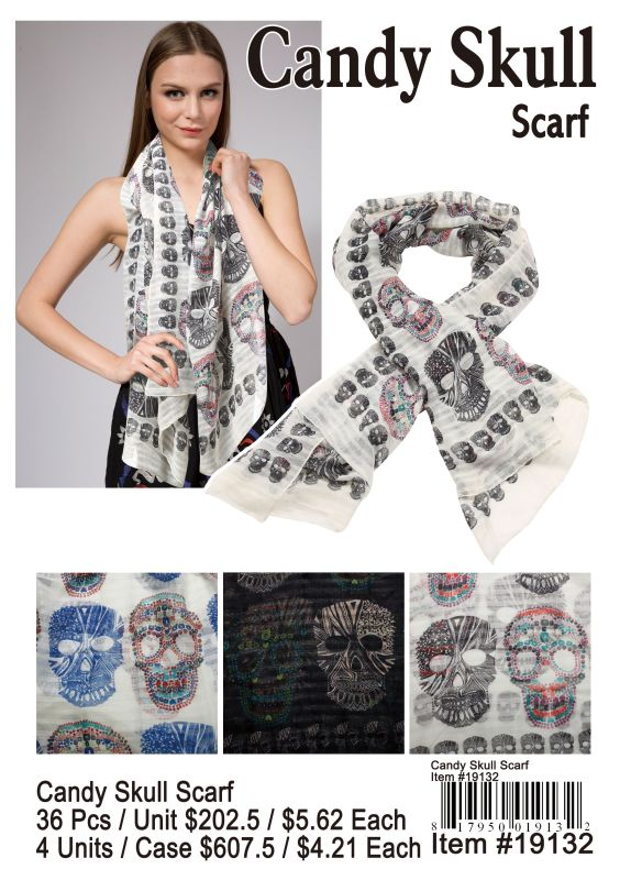 Candy Skull Scarf - 36 Pieces Unit