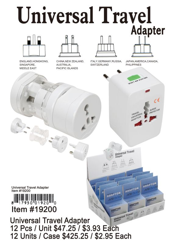 Universal Travel Adapter - 12 Pieces Unit
