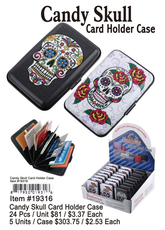 Candy Skull Card Holder Case - 24 Pieces Unit