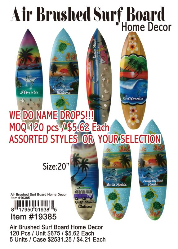 Air Brushed Surf Board Home Decor - 120 Pieces Unit