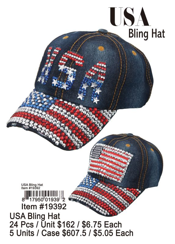 Usa Bling Hat - 24 Pieces Unit