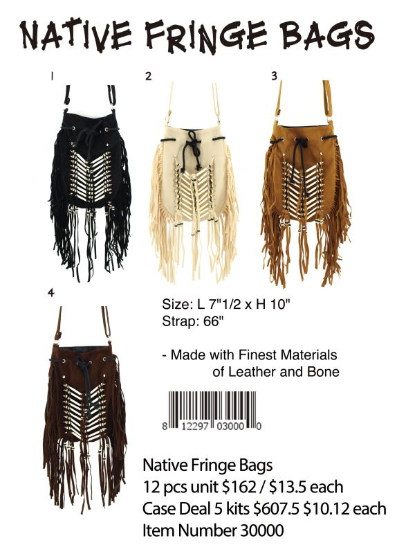 Native Fringe Bags - 12 Pieces Unit