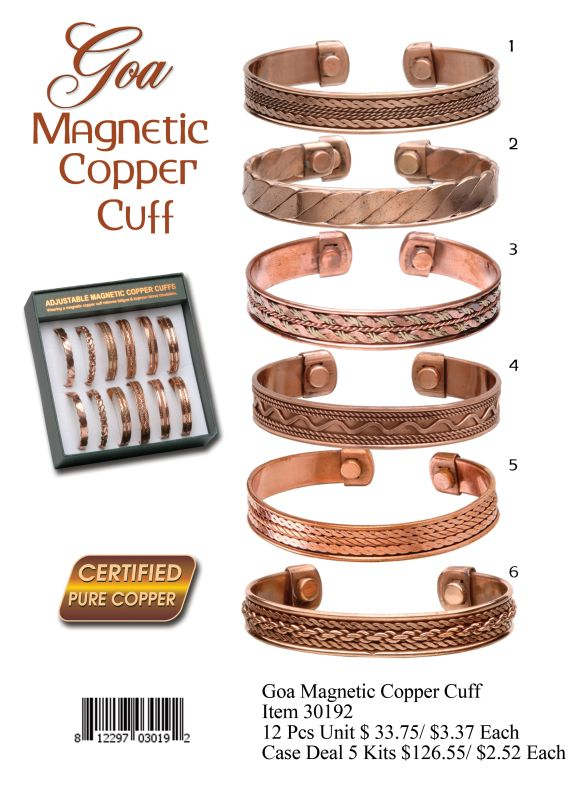 Goa Magnetic Copper Cuff - 12 Pieces Unit