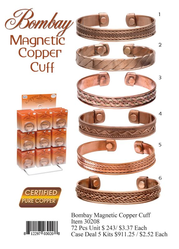 Bombay Magnetic Copper Cuff - 72 Pieces Unit