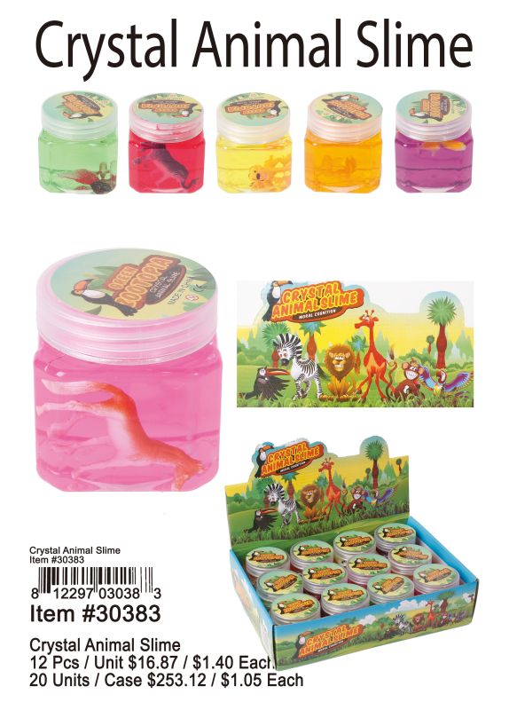 Crystal Animal Slime - 12 Pieces Unit