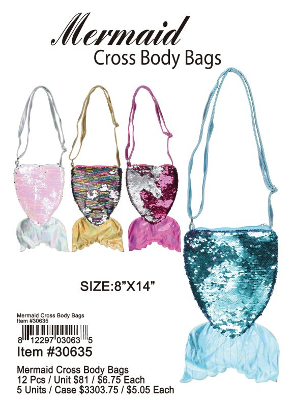 Mermaid Corss Body Bags - 12 Pieces Unit