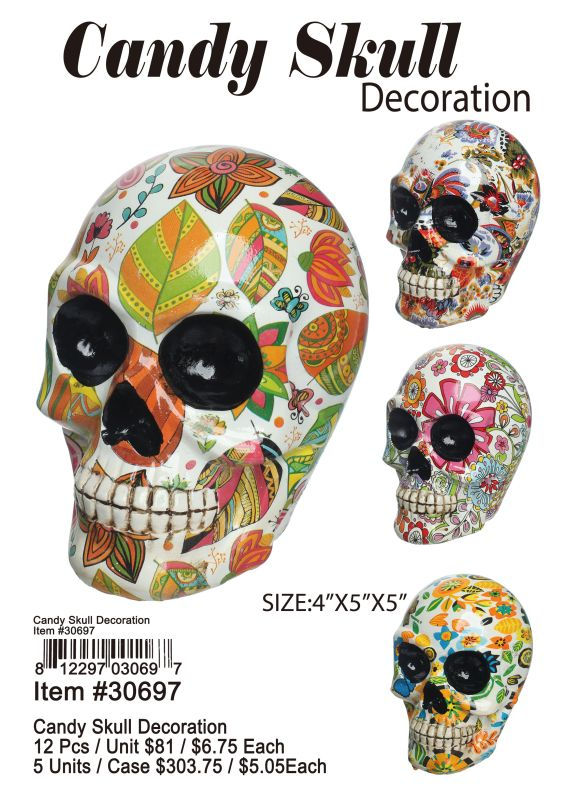 Candy Skull Decoration - 12 Pieces Unit